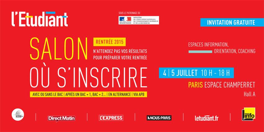 Salon de l 39 etudiant o s 39 inscrire de paris - Invitation salon de l etudiant ...