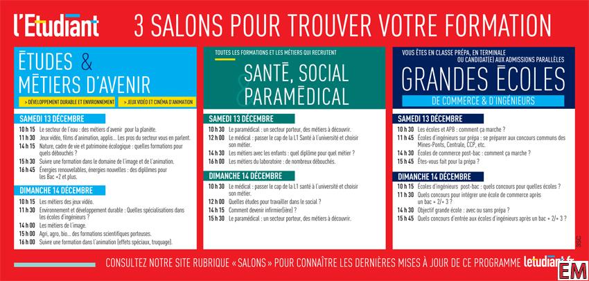Invitation aux 3 salons de l 39 etudiant grandes ecoles for Salon formation artistique paris